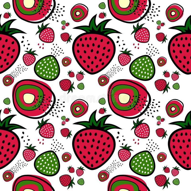 模式草莓向量 库存例证