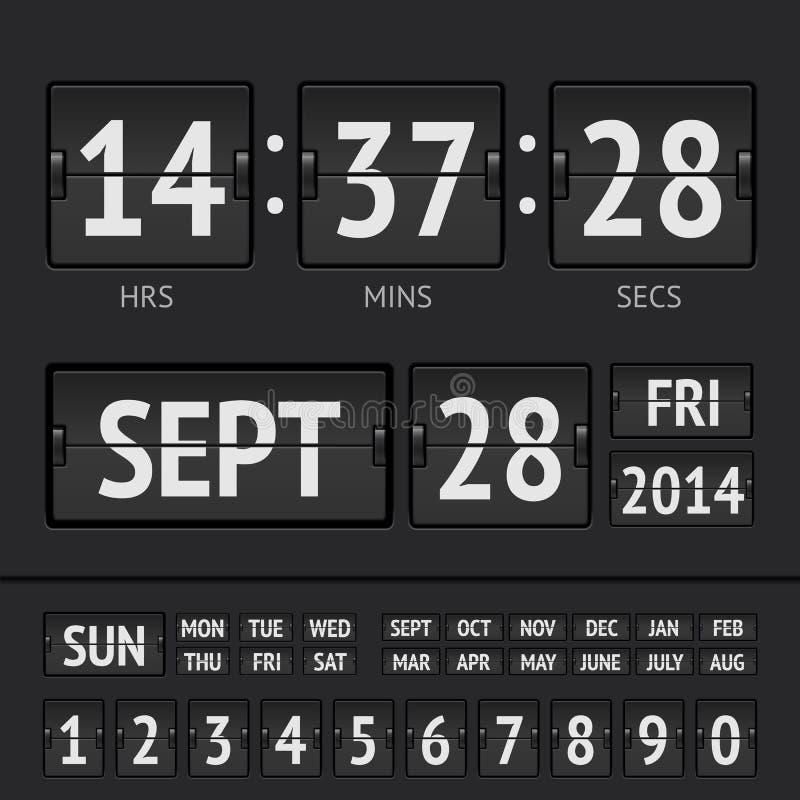模式黑记分牌数字式星期定时器 皇族释放例证