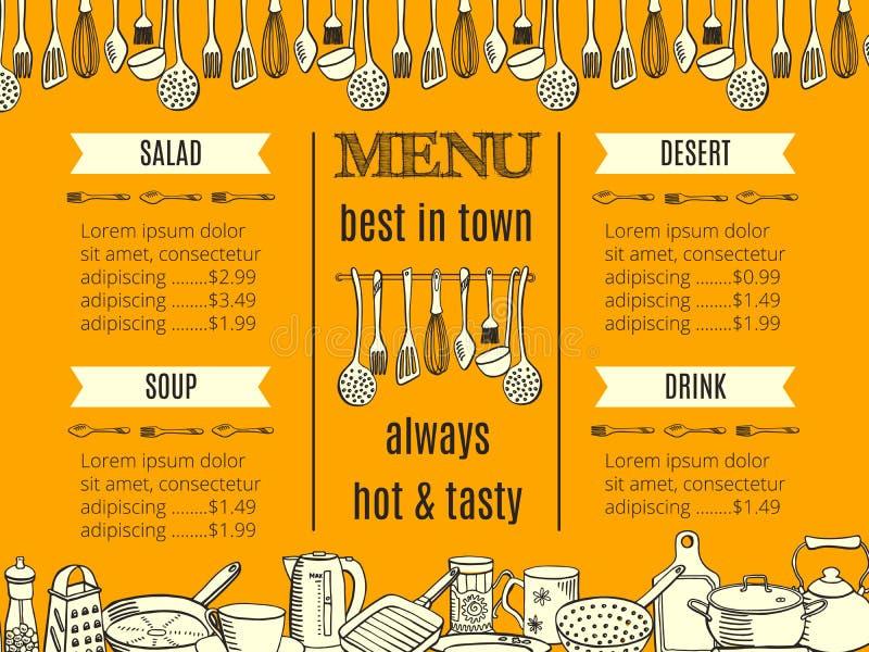 模板与厨具和利器的餐馆菜单 皇族释放例证