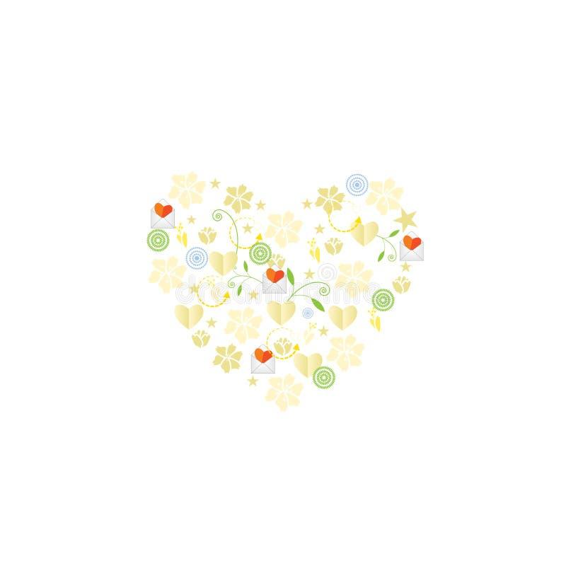 模板与花和心脏的贺卡 皇族释放例证