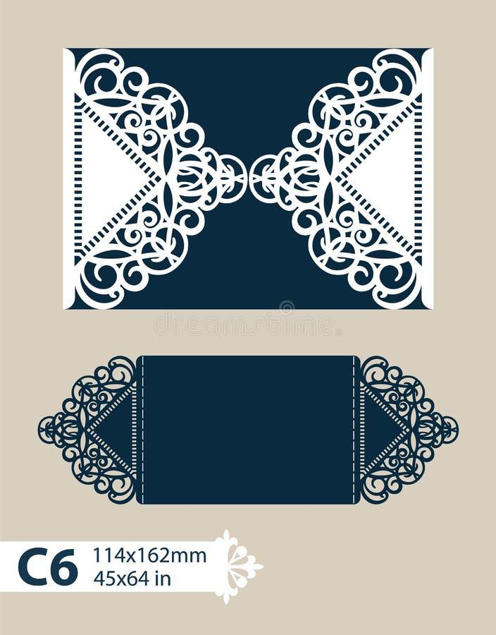 模板与透雕细工样式的贺卡 库存例证