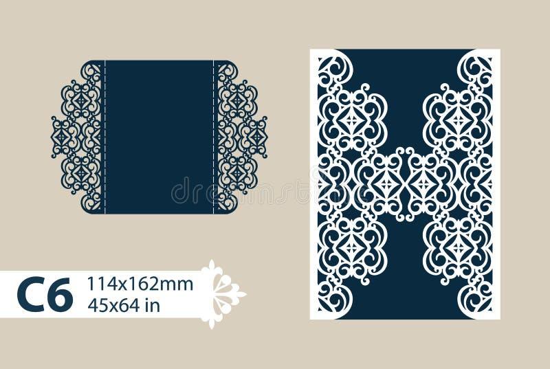 模板与透雕细工样式的贺卡 向量例证