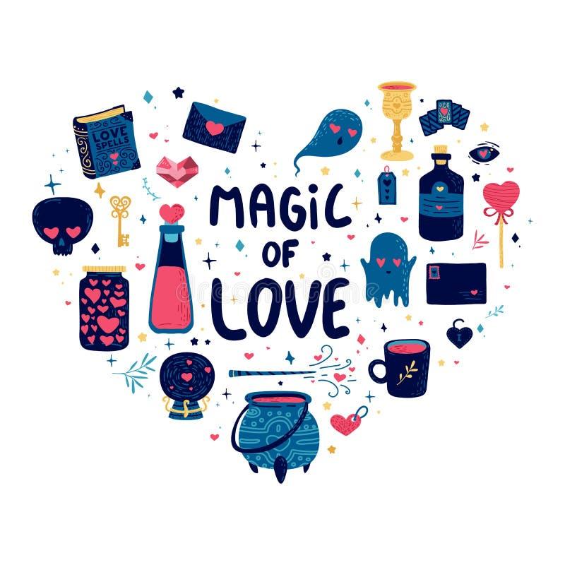模板与逗人喜爱的不可思议的元素的设计样式 心脏形状印刷品为愉快的华伦泰` s天 与好巫术师的海报 库存例证