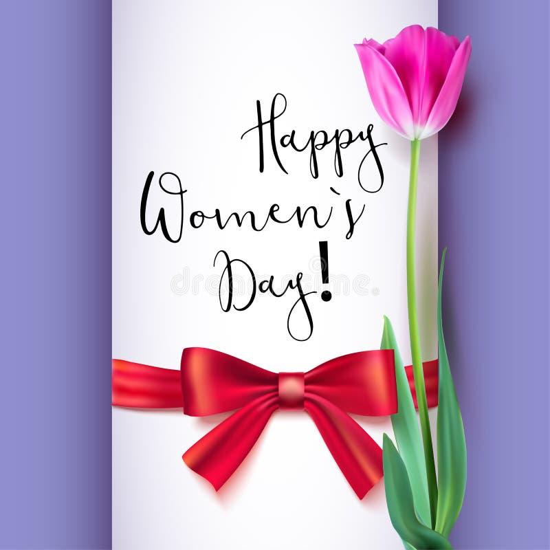 模板与郁金香和红色弓的贺卡 愉快的妇女s天,好和可爱的人民的祝贺 可实现 皇族释放例证