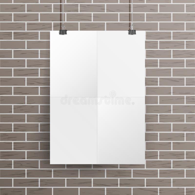 模板传染媒介的白色白纸墙壁海报嘲笑 可实现轻快优雅的例证 模板框架设计 向量例证
