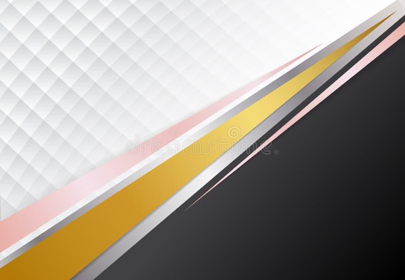 模板公司概念金子、银、桃红色金子和白色对比背景 向量图形设计例证 皇族释放例证