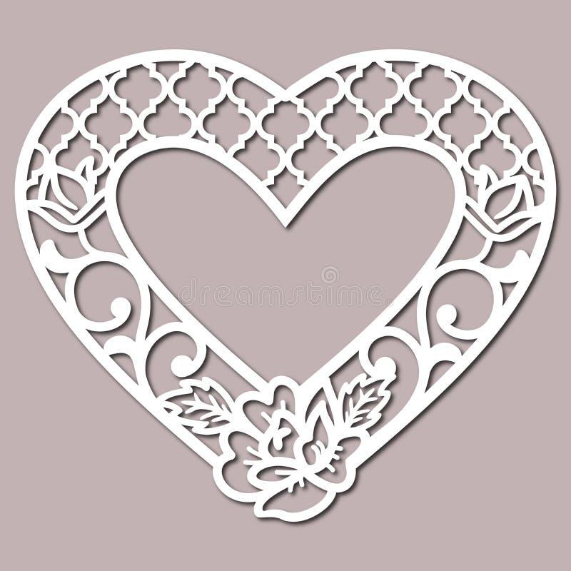 模板印刷与被雕刻的透雕细工样式模板的有花边的心脏婚姻室内设计的布局的 向量例证