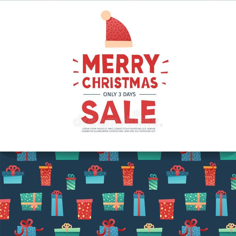 模板圣诞节提议的设计横幅 与圣诞老人帽子装饰的新年布局假日冬天季节销售的 愉快 向量例证