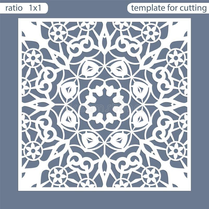 模板方形的贺卡激光裁减 适用于婚姻的邀请 模板切开的绘图员贺卡 透雕细工l 向量例证