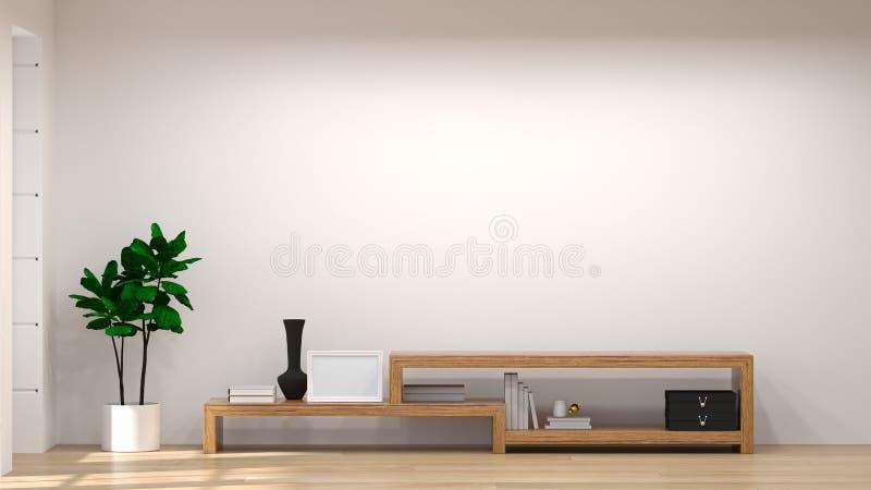 模板电视木内阁的嘲笑在现代空的室内部背景3d例证家设计,背景架子和嘘 向量例证