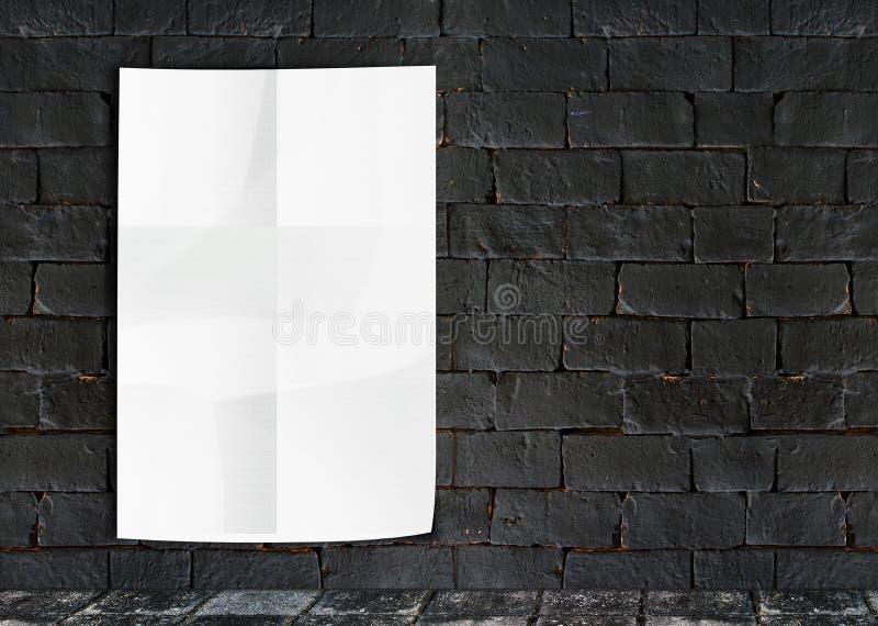 模板白色弄皱在难看的东西砖墙&小径g上的海报 免版税库存照片