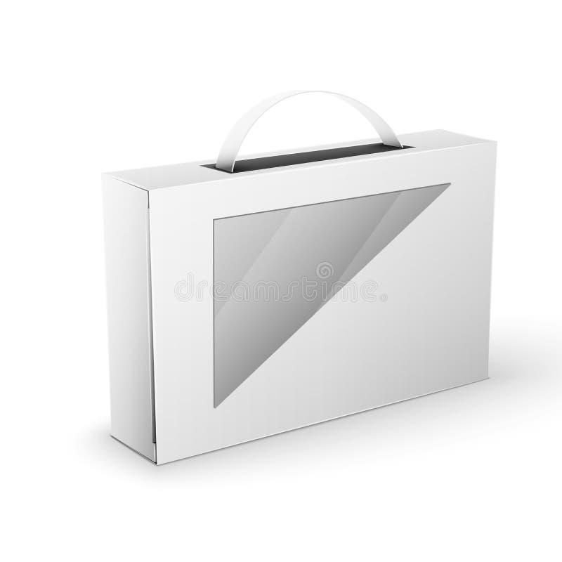 模板的白色产品包裹箱子嘲笑 库存例证