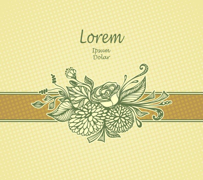 模板设计包裹或明信片与手拉的花花束在米黄橄榄 皇族释放例证