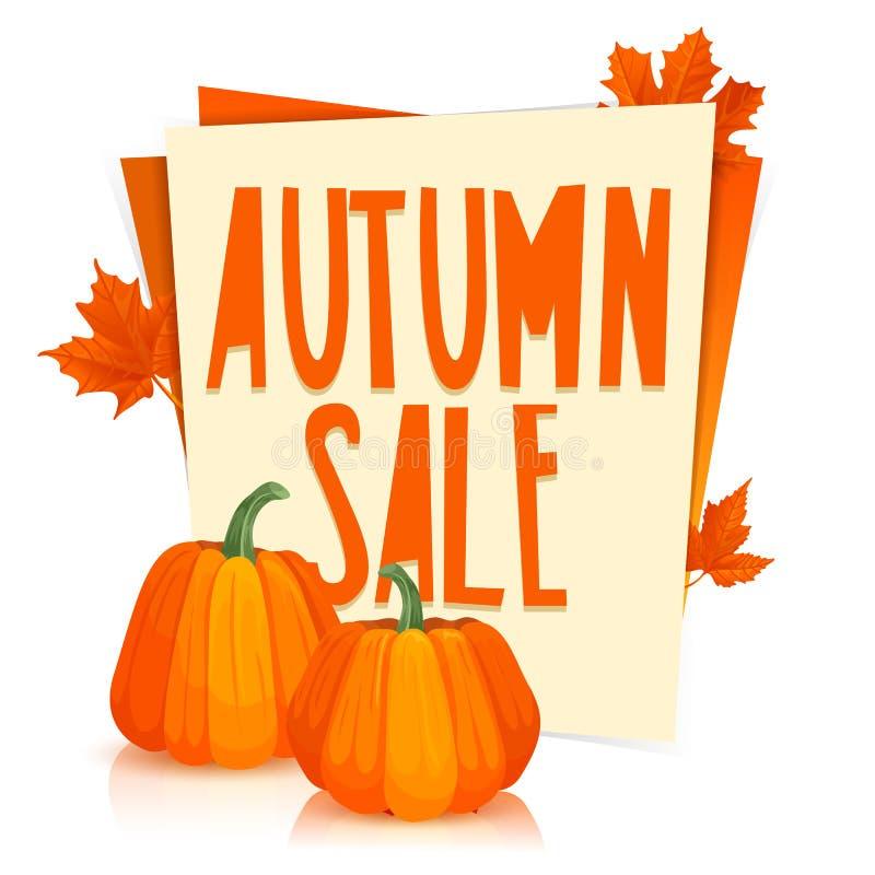 模板设计海报秋天销售 与橙色槭树叶子和南瓜装饰的海报  与的贴纸 皇族释放例证