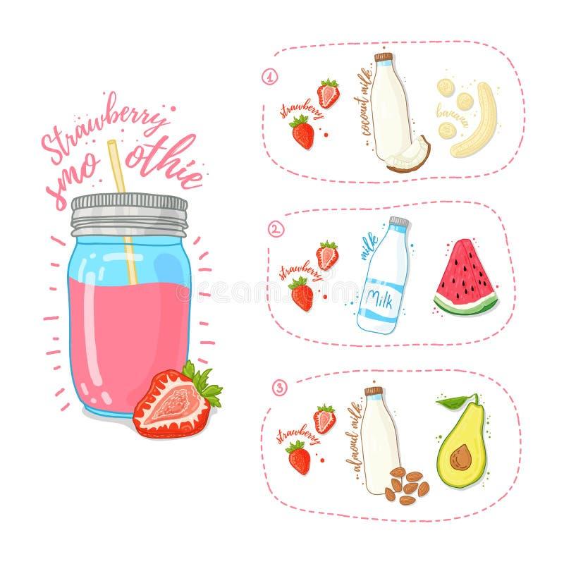 模板设计草莓圆滑的人食谱 设置草莓圆滑的人的食谱用果子、坚果、椰奶和母牛的 向量例证