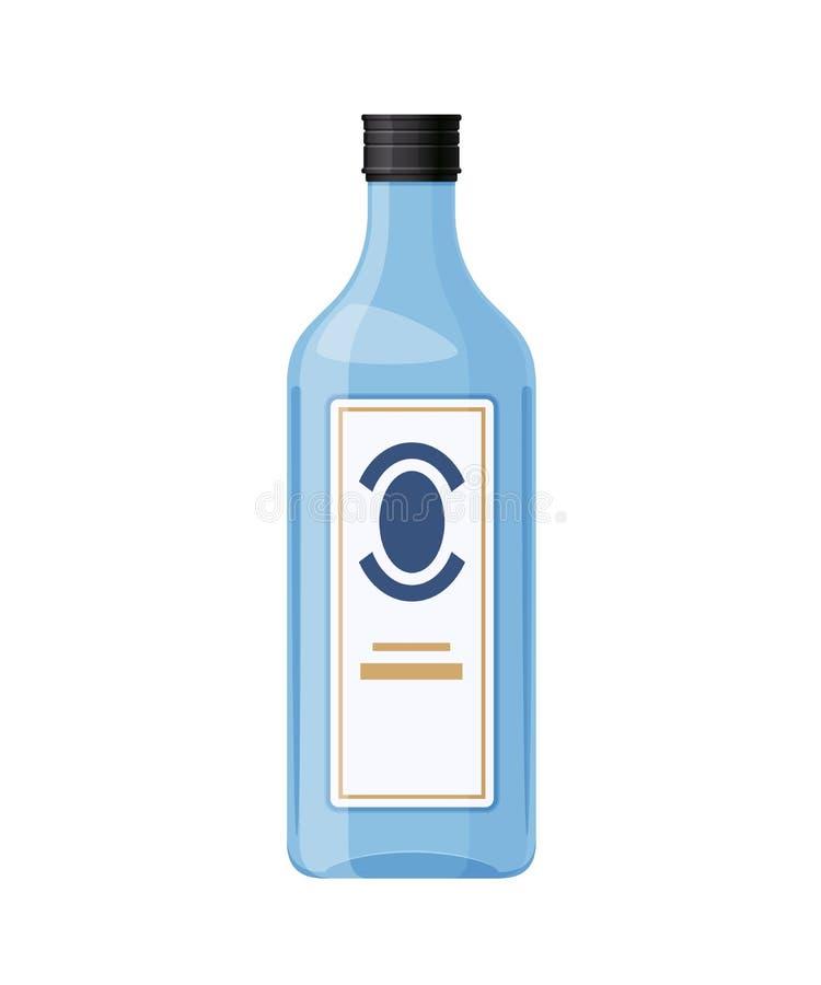 模板,布局,空的玻璃瓶杜松子酒,酒精饮料 向量例证