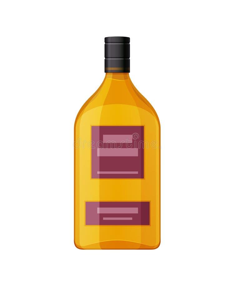 模板,布局,空的玻璃瓶阿曼那白兰地,酒精饮料 皇族释放例证