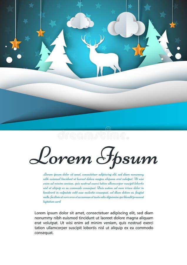 A4模板 冬天风景例证 冷杉,鹿,云彩,星 向量例证