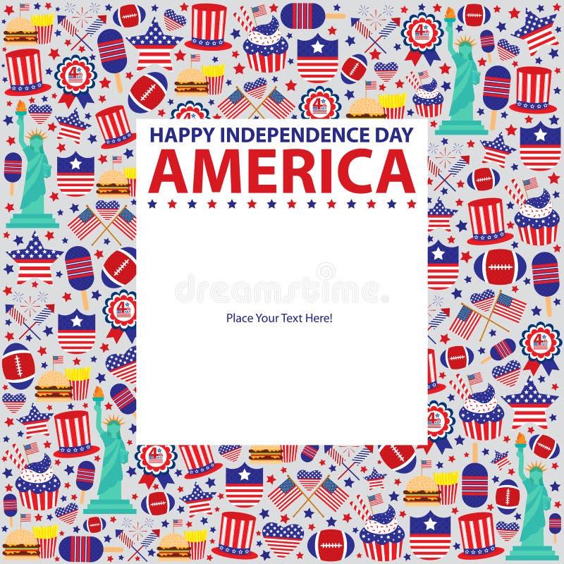 模板7月第4,美国人美国独立日 皇族释放例证