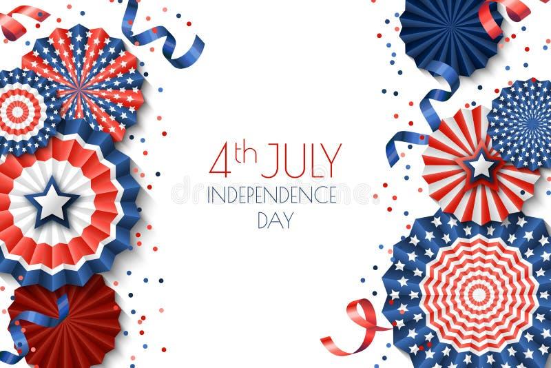 模板7月第4,美国美国独立日横幅 与纸星的白色背景在美国下垂颜色 向量例证