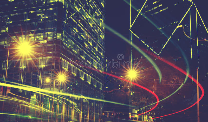 模糊的光夜视图在城市概念的 图库摄影