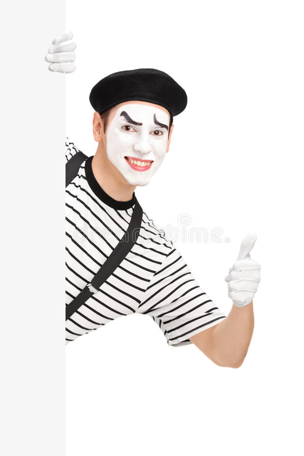 模仿给在一个白色盘区后的舞蹈家一个赞许 库存图片