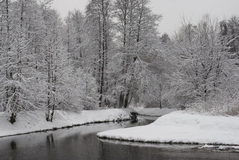 横向俄国村庄冬天 免版税库存照片