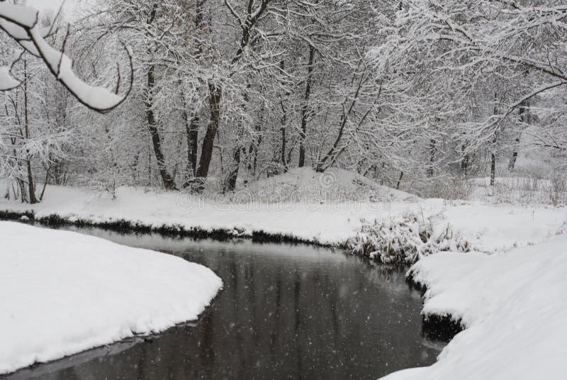 横向俄国村庄冬天 库存照片
