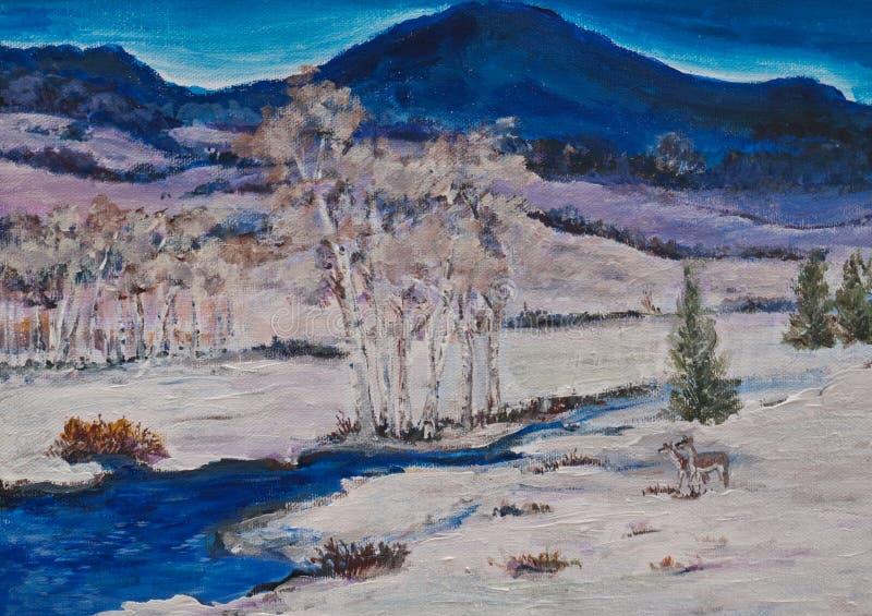 横向原始绘画冬天 向量例证