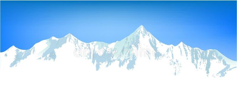 横向山冬天 库存例证