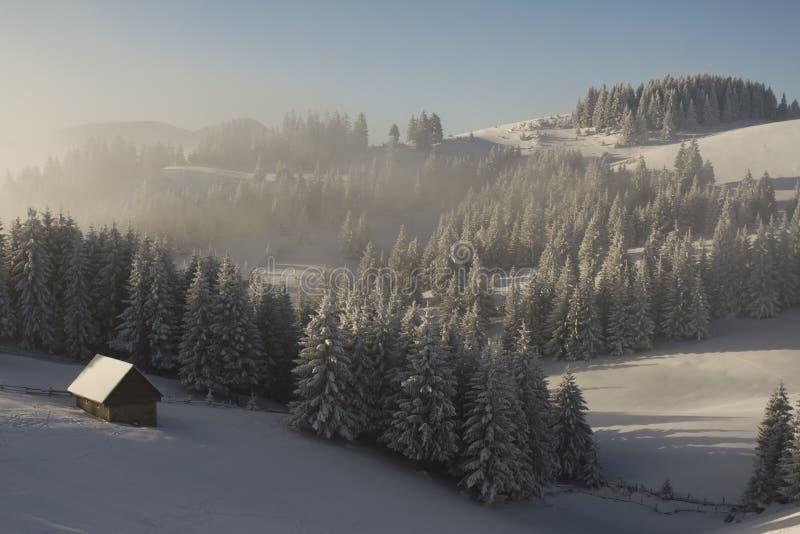 横向山冬天 库存图片