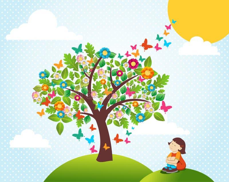 横向春天结构树 库存例证