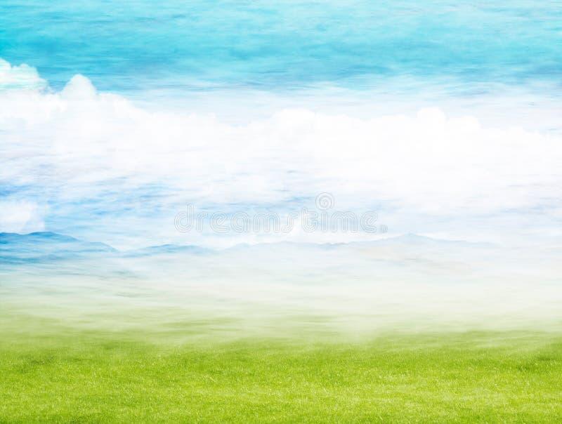 横向有薄雾的春天 免版税库存照片
