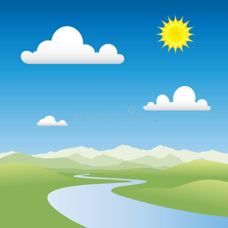 横向河 向量例证