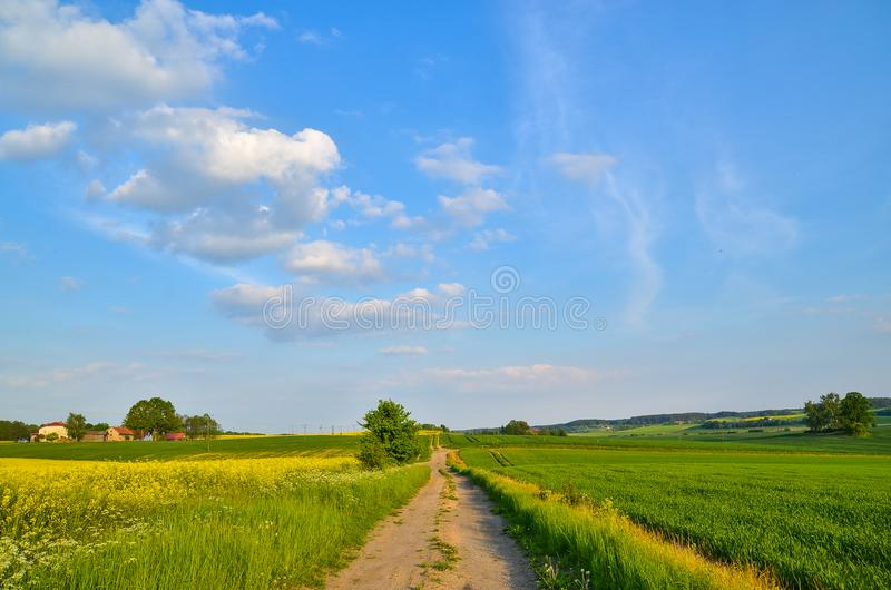 横向波兰村庄 免版税库存照片