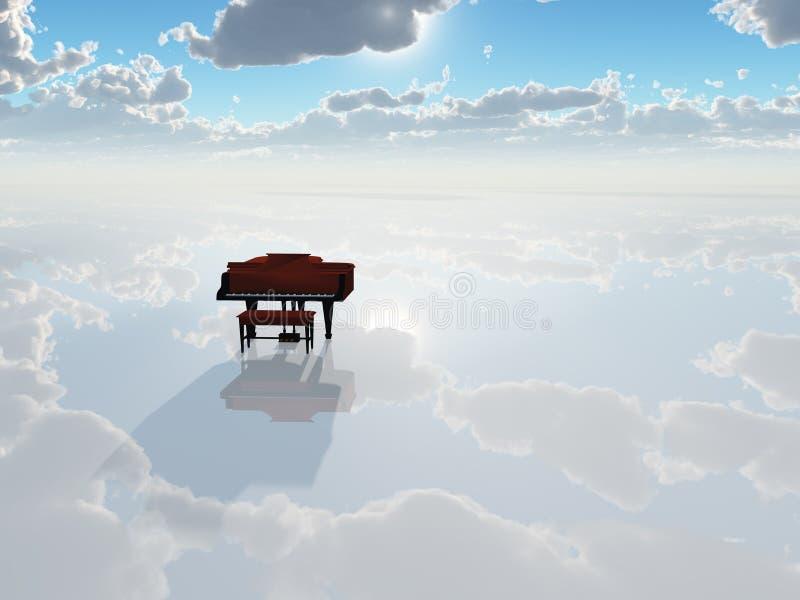 横向钢琴纯然的白色 皇族释放例证