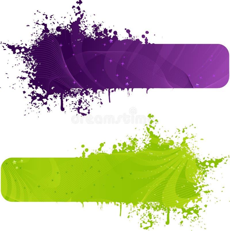 横幅上色绿色grunge紫色二 库存例证