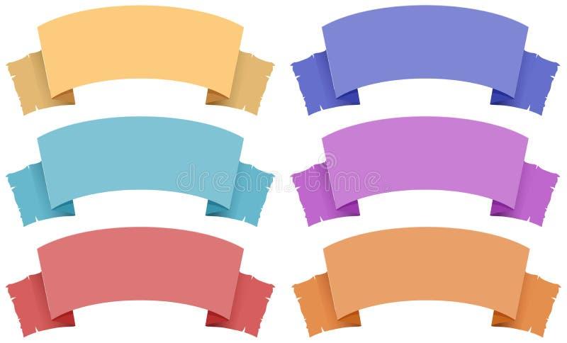 横幅中世纪样式在许多颜色的 向量例证
