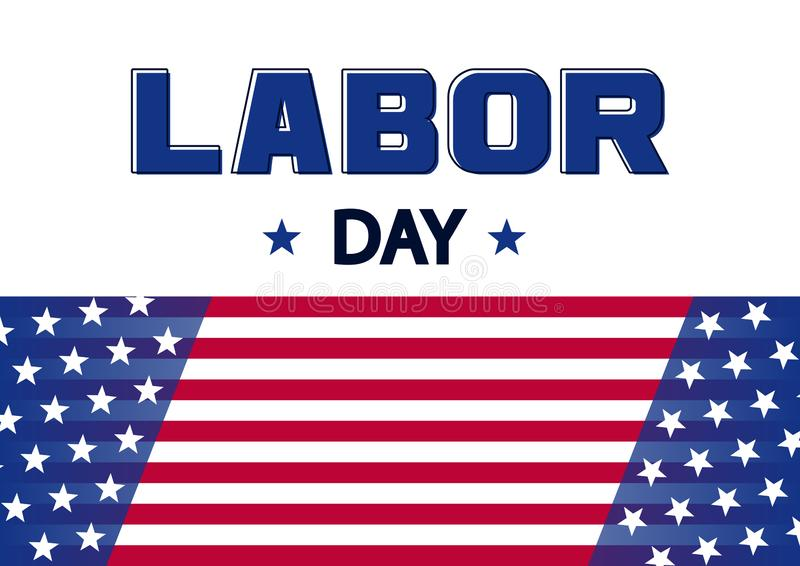 横幅为劳动节,美国旗子 向量 库存例证