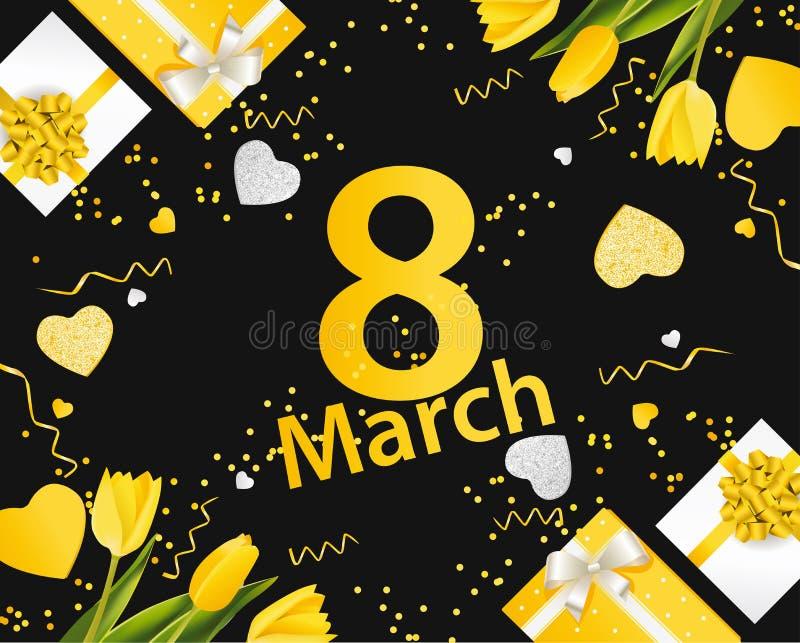 横幅为国际妇女` s天 与装饰的3月8日 向量例证