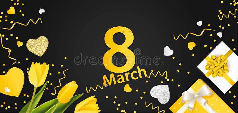 横幅为国际妇女` s天 与装饰的3月8日 皇族释放例证