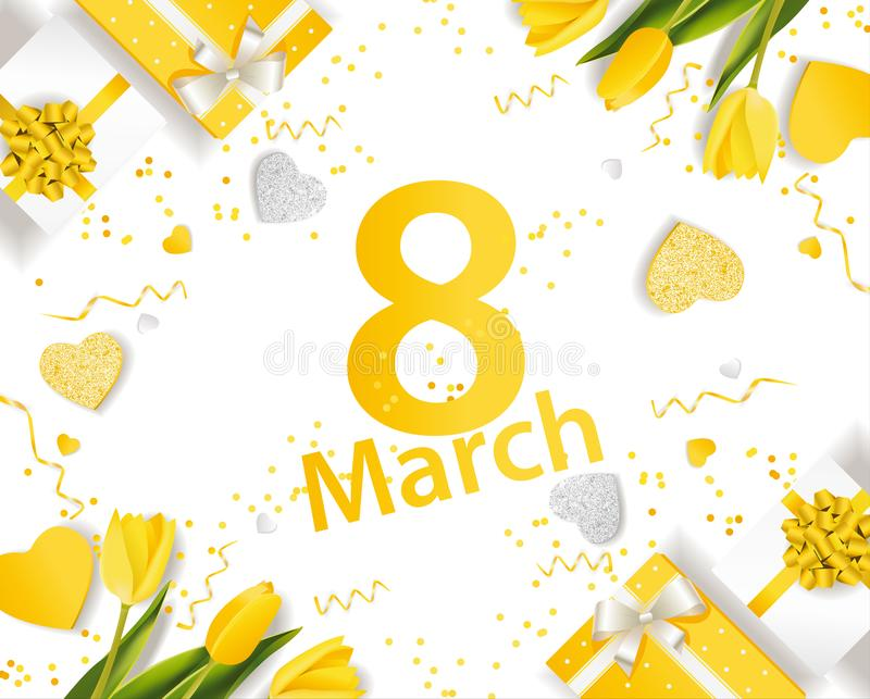 横幅为国际妇女` s天 与装饰的3月8日 库存例证