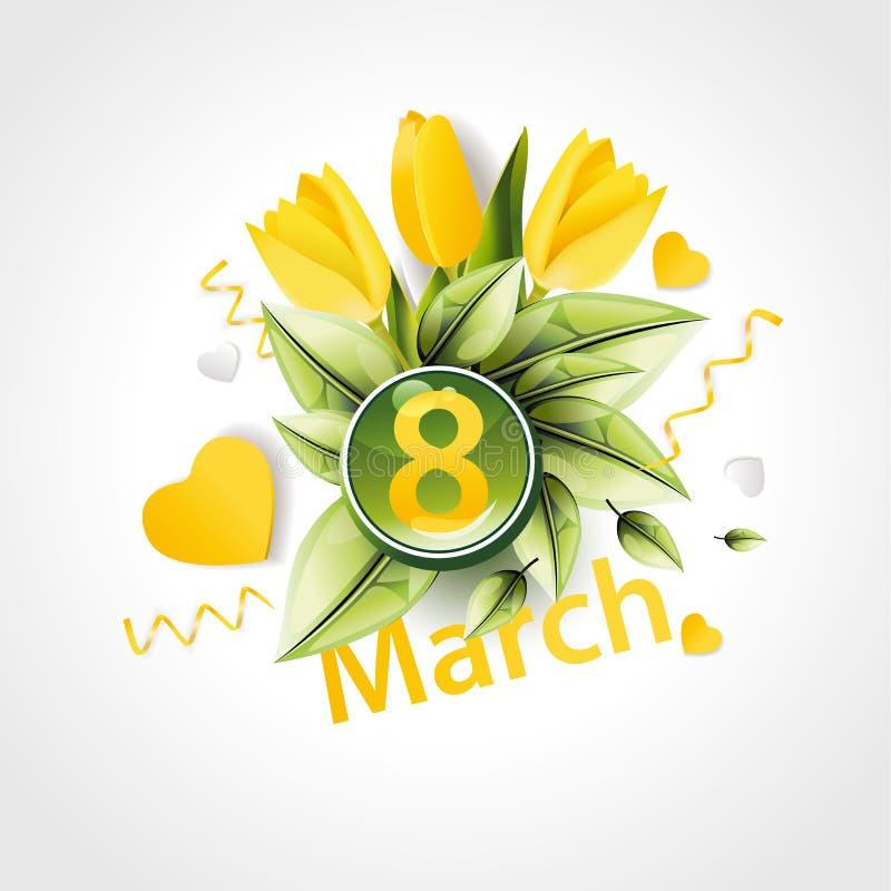 横幅为国际妇女` s天 黄色郁金香装饰  向量例证