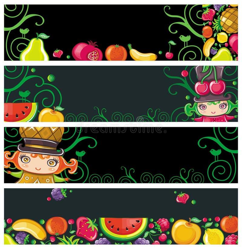 横幅五颜六色的果子 皇族释放例证