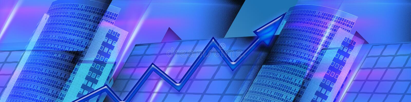 横幅企业财务增长的结果 库存例证