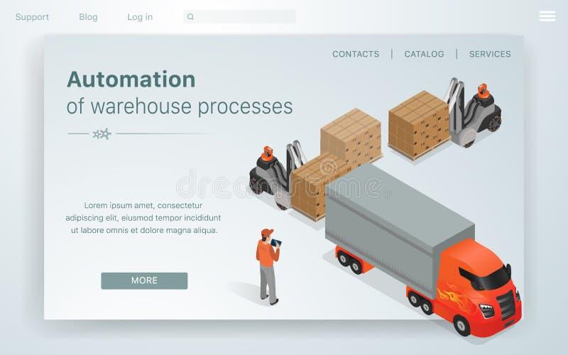 横幅例证自动化Warehous过程 库存例证