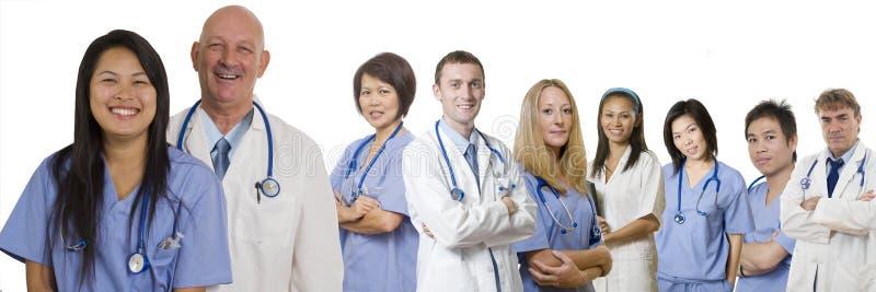 横幅关心卫生业职员 库存图片