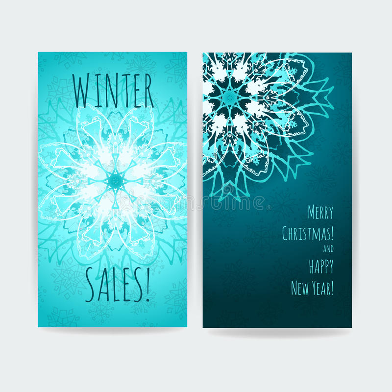 横幅冬天销售的两传染媒介艺术品 向量例证