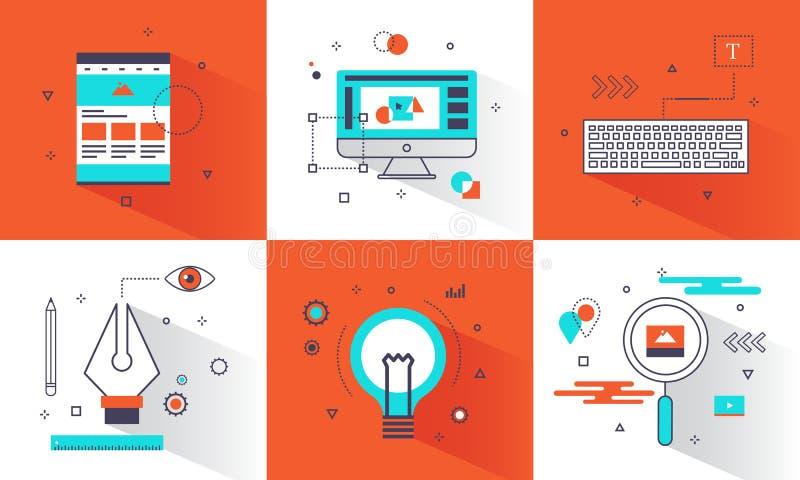 横幅创造性的图形设计概念 抽象元素和平的线网站的,创造性的事务,教育象样式 库存例证