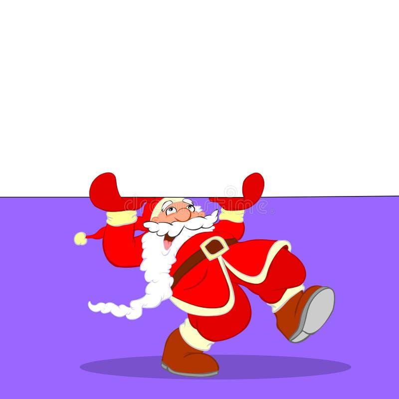 横幅动画片克劳斯・圣诞老人 库存例证